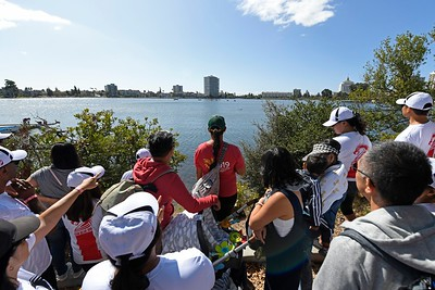 Spectators watch from shore as participants compete during the 24th Annual Northern California International Dragon Boat Festival at Lake Merritt in Oakland, Calif., on Saturday, Sept. 28, 2019. The event is presented by the California Dragon Boat Association. Hundreds of participants from around the country compete in 95 races while paddling in 40-foot dragon boats during the two day event. (Jose Carlos Fajardo/Bay Area News Group)