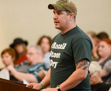 Tim Lynch speaks during the Chico City Council meeting Tuesday in Chico. (Matt Bates -- Enterprise-Record)