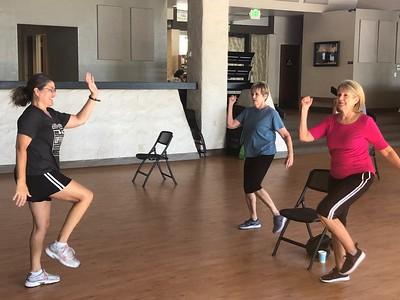Annette Mathews teaches seniors carido fitness moves at Lakeside Pavilion in Chico on Tuesday morning. (Natalie Hanson -- Enterprise-Record)