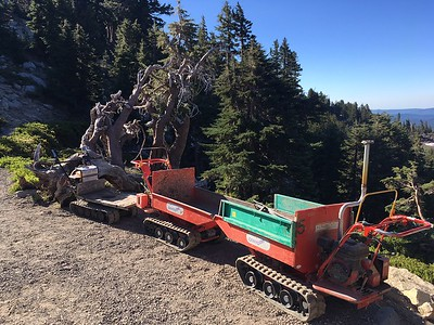 Walk-behind crawlers, used to haul fill for the new Bumpass Hell trail in Lassen Volcanic National Park, sit parked beside the trail Saturday. Work is continuing to revamp the trail, first constructed in 1935. (Steve Schoonover -- Enterprise-Record)
