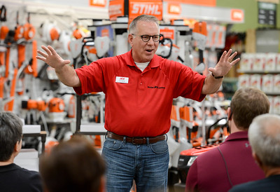 Curt Sparks, human relations manager, culture and values for Ace Hardware, speaks during a staff meeting at the new East Avenue location Tuesday in Chico. The hardware store opens at 7 a.m. Wednesday. (Matt Bates -- Enterprise-Record)