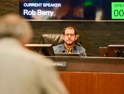 Rob Berry addresses Mayor Randall Stone during the Chico City Council meeting Tuesday in Chico. (Matt Bates -- Enterprise-Record)