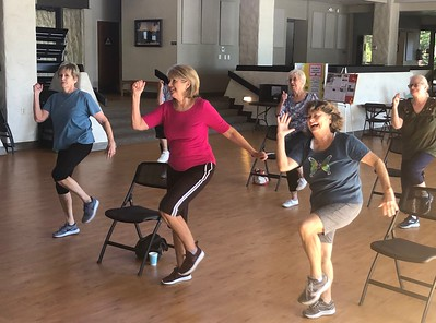 Students at the FUNctional Fitness class taught by Annette Mathews enjoy cardio exercises Tuesday morning at Lakeside Pavilion in Chico. (Natalie Hanson -- Enterprise-Record)