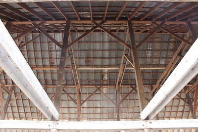 Timber framing inside the old DeMeyer barn, which is being reassembled in Meriam Park after being taken down at its original site on Meridian Road at West Sacramento Avenue. (Steve Schoonover -- Enterprise-Record)