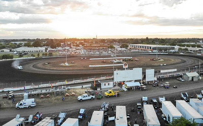 An aerial view of opening night for the 66th annual Gold Cup Race of Champions at the Silver Dollar Speedway is seen Wednesday in Chico. (Matt Bates -- Enterprise-Record)