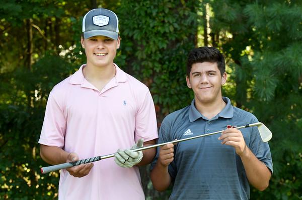 BRYAN EATON/Staff Photo. Newburyport High School golf team captains Sam Lyman, left, and Luke Grossi-Hogg.