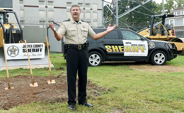 Jasper County Sheriff Randee Kaiser thanks community members during groundbreaking ceremonies for the Jasper County Jail expansion project on Wednesday in Carthage. The project will add about 100 beds to the jail, with additional space for interview rooms, visitation spaces, video hearings, telemedicine and telecounseling appointments.  Globe | Laurie Sisk