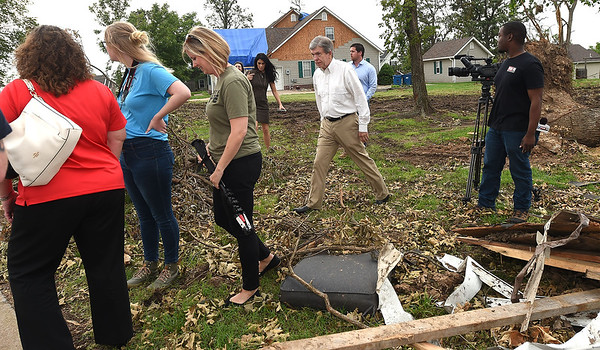 Sen. Roy Blunt walks amongst the debris in May, 2019 as he visits with those affected by the Carl Junction tornado. Globe | Laurie SIsk