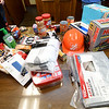 Suggested items for an emergency kit are displayed on a table at the Ozark Center Crisis Services on Monday.<br /> Globe | Laurie Sisk