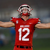Carl Junction's Noah Southern celebrates a touchdown reception during the Bulldogs game against Carthage on Friday night at CJHS.<br /> Globe | Laurie Sisk