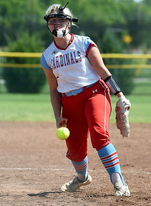 Webb City's Haidyn Berry delivers a pitch during the championship game of the Joplin High School Tournament against Nevada on Saturday at the Joplin Athletic Complex. Globe | Laurie Sisk