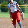 Webb City's Haidyn Berry delivers a pitch during the championship game of the Joplin High School Tournament against Nevada on Saturday at the Joplin Athletic Complex.<br /> Globe | Laurie Sisk