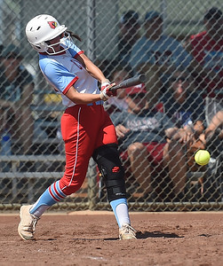 Webb City's Alyssa Jennings reaches first base on a fielder's choice during the championship game of the Joplin High School Tournament against Nevada on Saturday at the Joplin Athletic Complex. Globe | Laurie Sisk