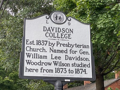 A closer view of the marker  located on the campus side of Main Street.