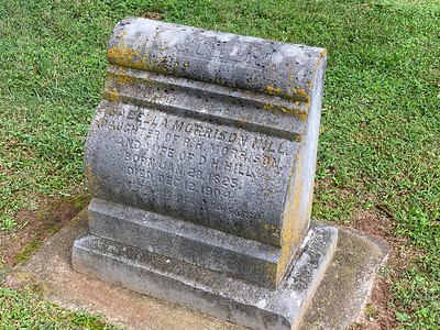 The grave marker of D.H. Hill's wife - who was the daughter of Robert Hall Morrison.