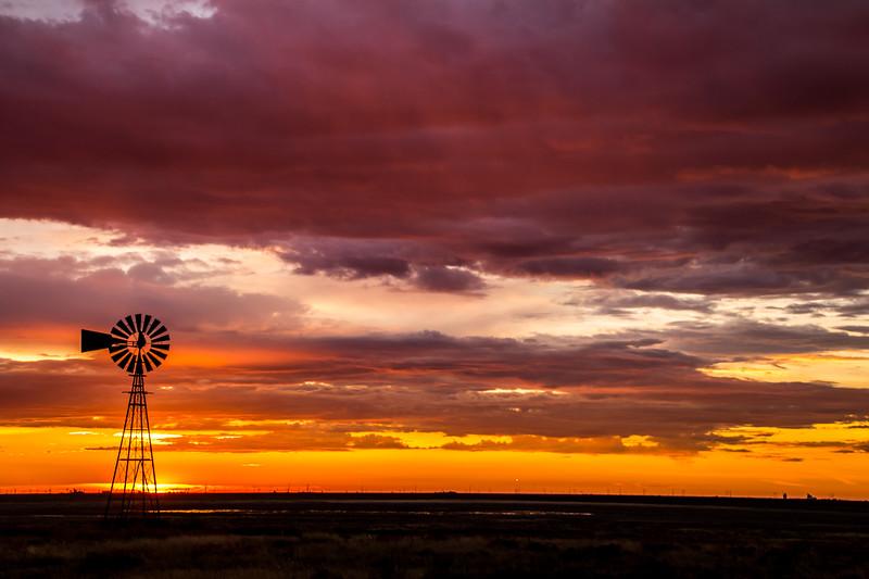 Left Windmill Sunrise Near Panhandle