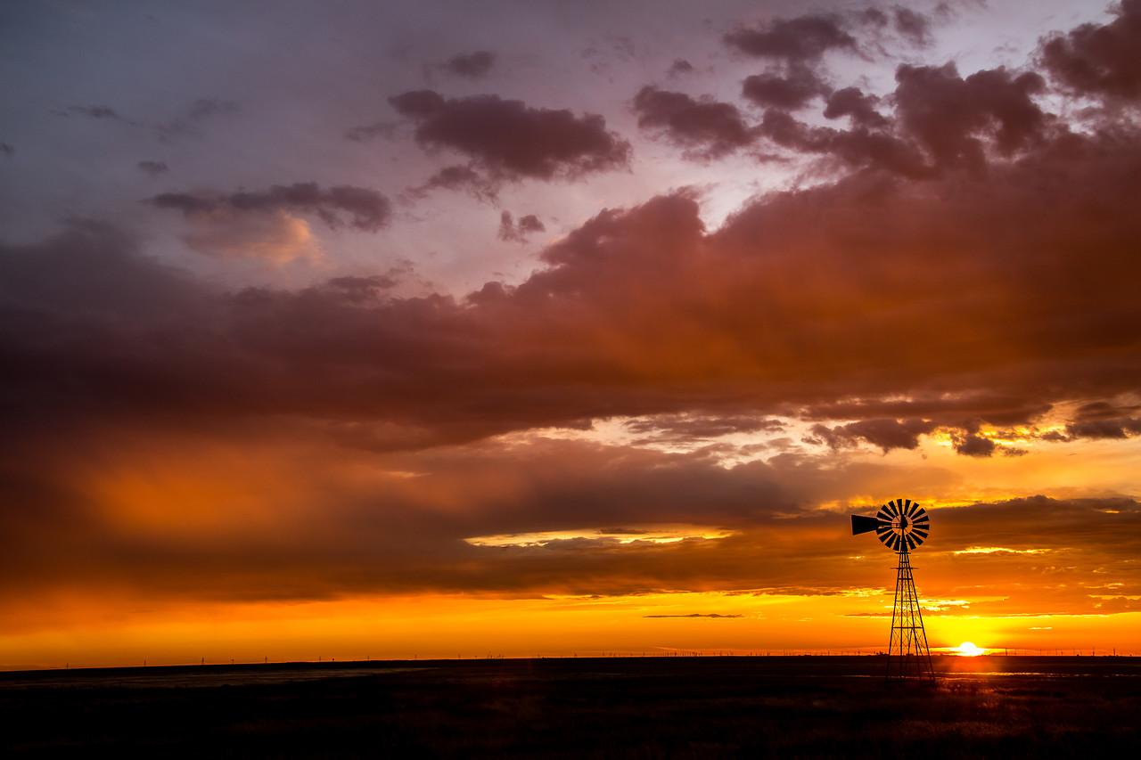 Right Windmill Sunrise Near Panhandle, Texas