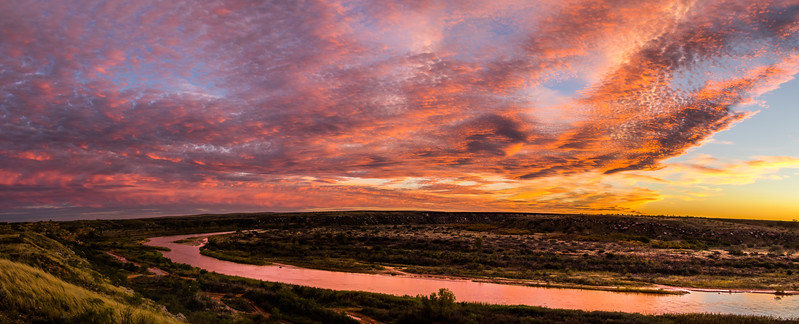 Sunset Panorama Near Canadian River, North of Amarillo