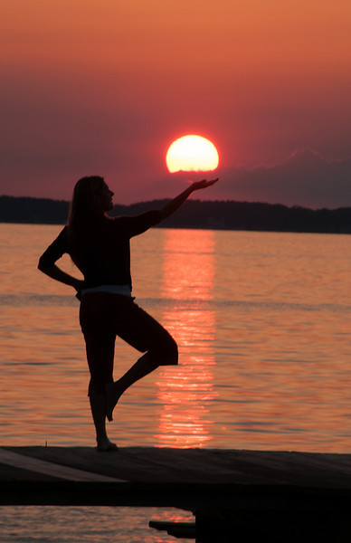 Tree Pose and the Setting Sun