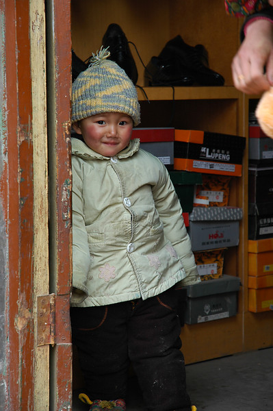Shy child in Xian
