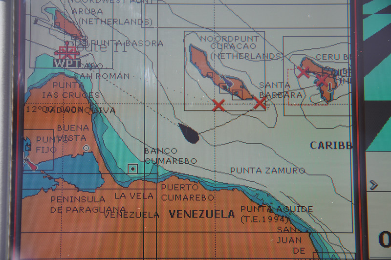 Scarily close to the coast of Venezuela we're heading for the gap between Aruba and the Venezuelan peninsular