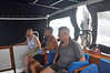 I must admit there were times of worry and uncertainty - this picture captures a moment when we still had the arm rests on the bridge seating. The arm rests eventually broke under the strain of the rolling waves making sitting 'up top' even more difficult
