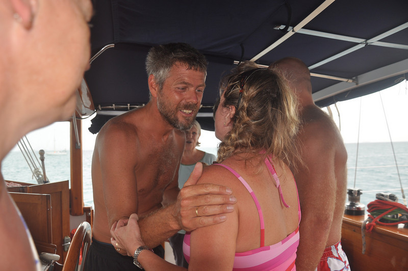 Paul greeting Sheila - he can't wait to get off Serengeti and they've made it possible at last!