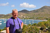 A rare photo of Ian, with Tyrell Bay, Carriacou in the background