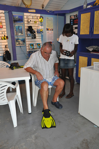 Ian (Yogi) was eventually persuaded he'd enjoy snorkeling so he bought flippers, mask & snorkle from the Dive Shop at True Blue Bay, Grenada