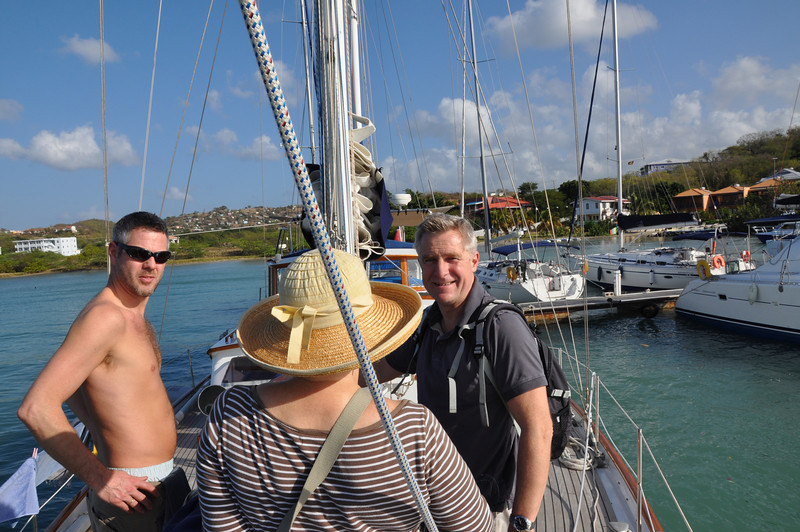 """Serengeti moored at Dodgy Dock; Paul, (""""Yummy"""") and Ashley chat to Sheila."""