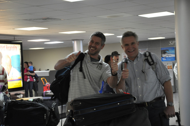 Paul & Ashley collect their luggage at Grenada airport