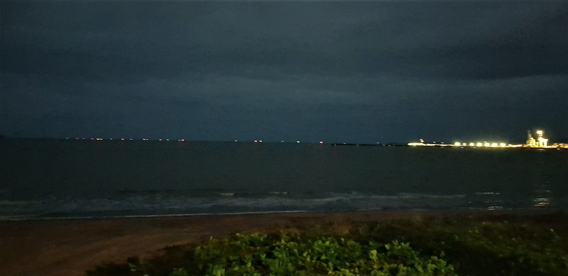 Sea lane lights from harbour out to Magnetic Island at night