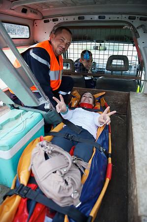 La conductrice Maryline T. est prise en charge par le Samu et elle va déjà nettement mieux ...