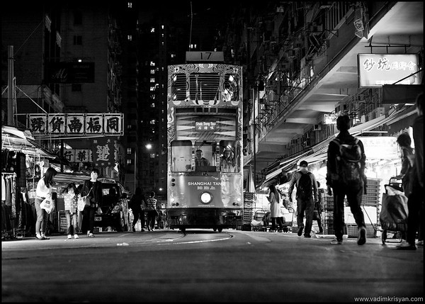 Chun Yeung Street and Tram, Hong Kong, 2015