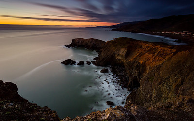 Rodeo Cove Long Exposure From a few nights ago up in the headlands, on the cliffs by Point Bonita. This is facing Rodeo Cove.   Tech Specs Canon 17-40mm f/4 L 365 Seconds (6.08 Minutes) IS0 325 f/11 LEE Big Stopper and .9 Soft Grad ND Induro CT214