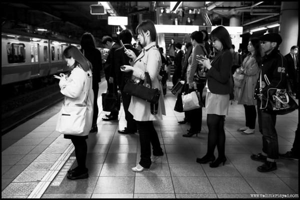 Waiting Line at Shinjuku Train Station, Tokyo, 2014