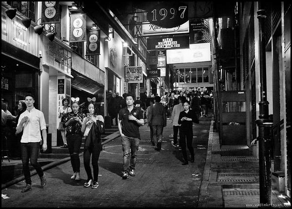 Street of Lan Kwai Fong, Expats, Hong Kong, 2016