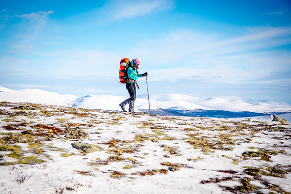 Woman touring in winter at dovrefjell, Norway.