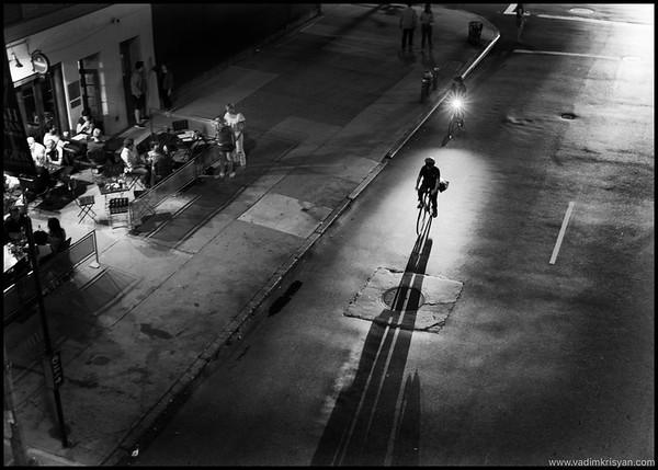 Cyclist and Shadow