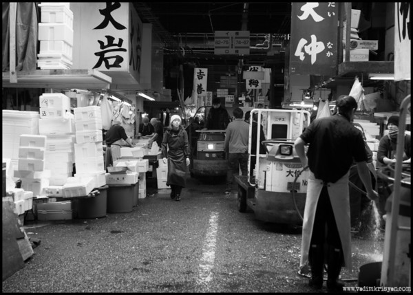 Busy aisle Tsukiji Markets, Tokyo, 2014
