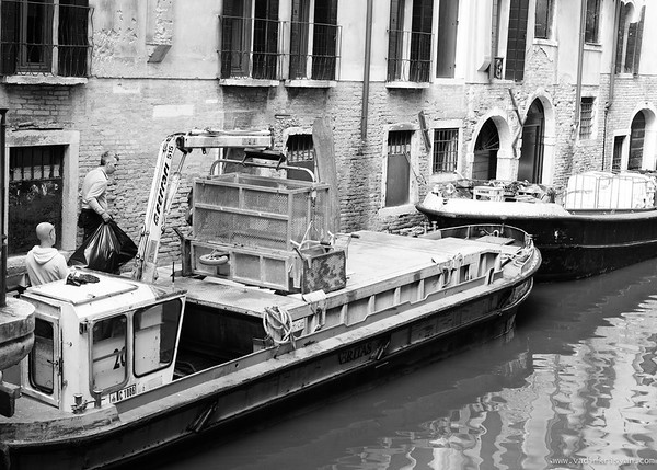 Trash Collection Boat in Venice, 2016