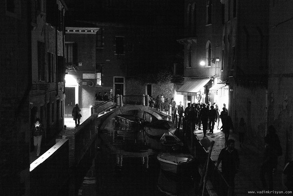 Canal and Calle (narrow street) at night, Venice, 2016