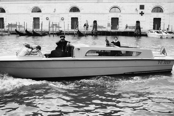 Priests on Grand Canal, Venice, 2016