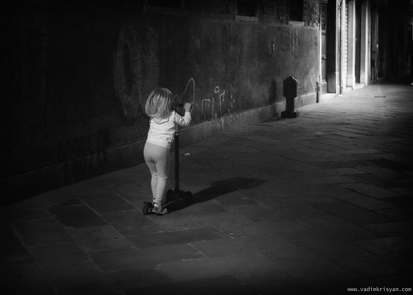 Kid and Scooter at Night, Venice,2016