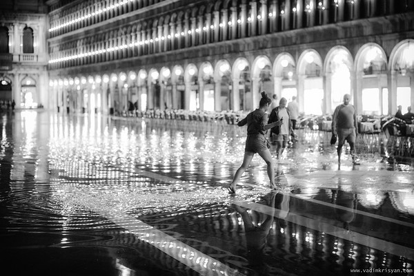 Flooded St Marc at Night, Venice,2016