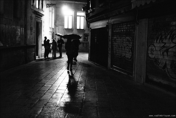 Dorsoduro during rainy night, Venice, 2016