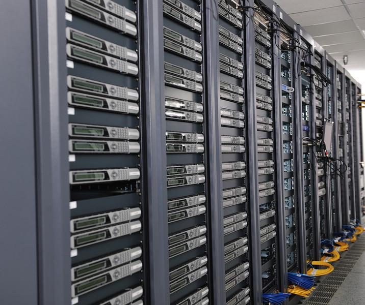 Internet network server room with computers racks and digital receiver for digital tv