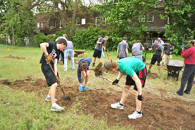 City Serve 2012: Making a community garden at Cudell of Cleveland - West 85th and Detroit