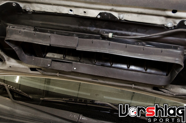 Here we modified the hood scoop on a 2004 STi to seal better to the top mounted intercooler.