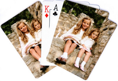 "Photo Playing Cards High-quality laminated poker deck. Finished size is 2.5"" by 3.5"". Playing cards have excellent color reproduction. Each deck comes in a sturdy clear plastic case.    $39.95"